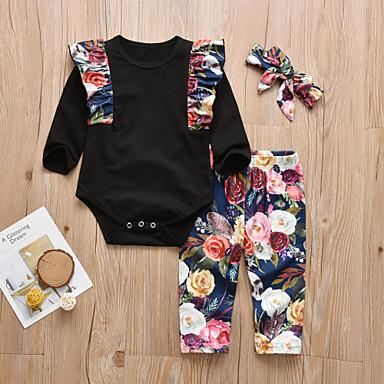 povoljno Odjeća za bebe-Dijete Djevojčice Ležerne prilike / Aktivan Cvjetni print / Print Print Dugih rukava Duga Komplet odjeće Crn