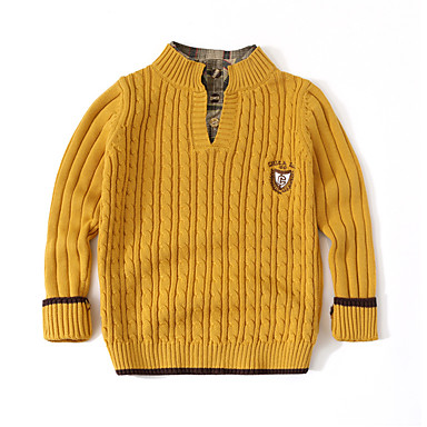 cheap Baby & Kids-Kids Boys' Basic Solid Colored Long Sleeve Sweater & Cardigan Yellow