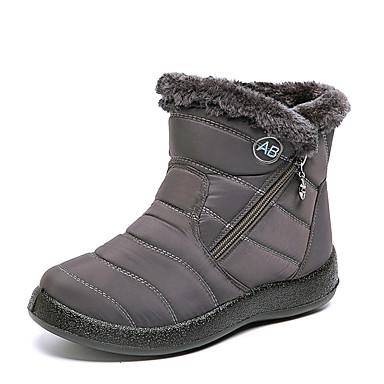 voordelige Dameslaarzen-Dames Laarzen Lage hak Ronde Teen Imitatieleer Korte laarsjes / Enkellaarsjes Informeel / minimalisme Winter Zwart / Bruin / Rood / leuze