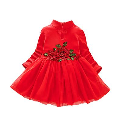 povoljno Odjeća za bebe-Dijete Djevojčice Aktivan / Osnovni Cvjetni print / Kolaž Više slojeva / Kolaž / Vezeno Dugih rukava Haljina Blushing Pink