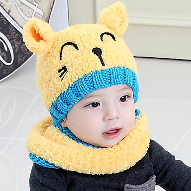 cheap Kids' Accessories-Kids / Toddler Boys' / Girls' Active / Basic / Sweet Animal / Cartoon Stylish / Knitting Cotton / Roman Knit Hats & Caps Blushing Pink / Yellow / Red One-Size