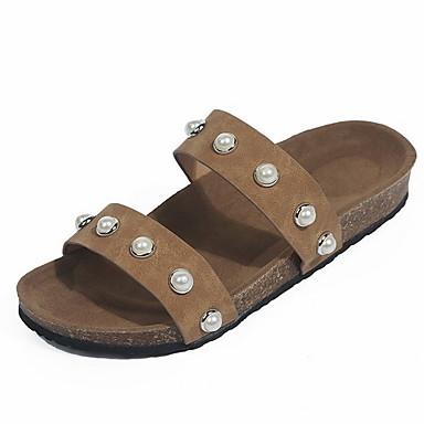voordelige Damespantoffels & slippers-Dames Slippers & Flip-Flops Platte hak Ronde Teen Microvezel Zomer Zwart / Bruin