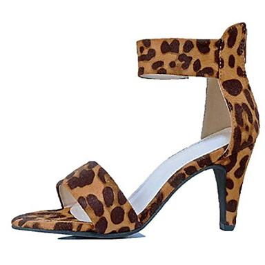cheap Women's Sandals-Women's Sandals Stiletto Heel Round Toe PU Summer Black / Leopard / Red