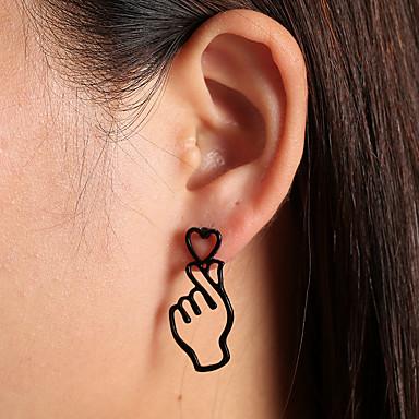 levne Pánské šperky-Pánské Dámské Visací náušnice Srdce hlava Romantické Náušnice Šperky Černá / Zlatá / Stříbrná Pro Dar Festival 1 Pair