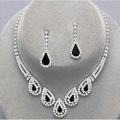 cheap Jewelry Sets-Women's Sapphire Crystal Citrine Jewelry Set Drop Earrings Pendant Necklace Drop Ladies Luxury Party Elegant Bridal everyday Cubic Zirconia Imitation Diamond Earrings Jewelry Black / Sapphire / Light