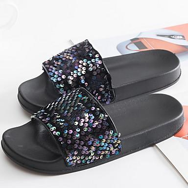 voordelige Damespantoffels & slippers-Dames Slippers & Flip-Flops Platte hak Ronde Teen Pailletten PVC Zomer Zwart / Paars / Zilver