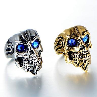 voordelige Herensieraden-Heren Ring 1pc Goud Zilver Strass Legering Onregelmatig Vintage modieus Etnisch Dagelijks Sieraden Vintagestijl Schedel