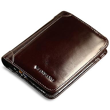 cheap Men's Bags-Men's Cowhide Wallet Solid Color Black / Coffee
