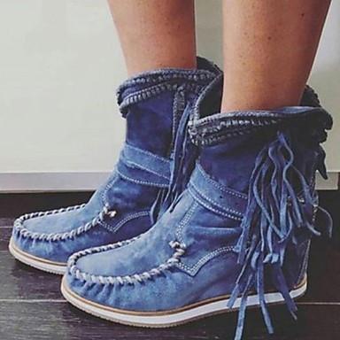 preiswerte Schuhe und Taschen-Damen Stiefel Komfort Schuhe Flacher Absatz Runde Zehe PU Mittelhohe Stiefel Herbst Winter Schwarz / Dunkelbraun / Grün