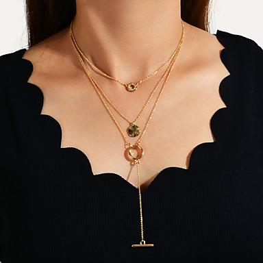 levne Dámské šperky-Dámské vrstvené Náhrdelníky Stohovatelné Vertikálně Jedinečný design Moderní Chrome Zlatá 37 cm Náhrdelníky Šperky 1ks Pro Dar