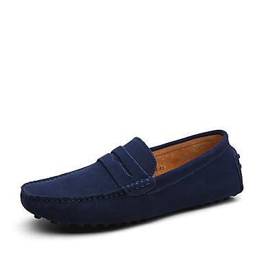 رخيصةأون أحذية رجالية-رجالي مقسين شبكة / Chiffon للربيع والصيف / خريف & شتاء المتسكعون وزلة الإضافات المشي أسود / خمر / أسود / أزرق