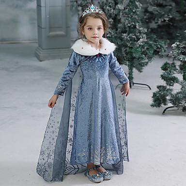 preiswerte Halloween Angebote-Kinder Baby Mädchen Aktiv Süß Solide Halloween Langarm Maxi Kleid Blau