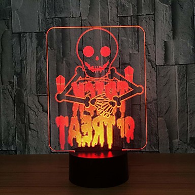 3d nattlampe 7 farger skiftende skjelett akryl 3d led nattlys usb berøringsbryter bordlampe halloween dekorasjon atmosfære 1 stk