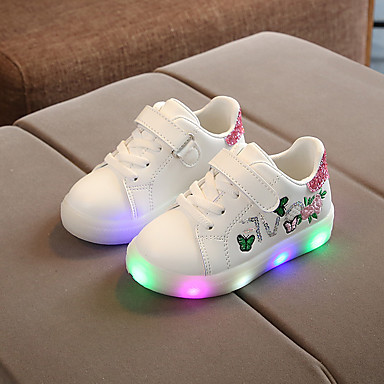 cheap Kids' LED Shoes-Boys' / Girls' Sneakers LED / Comfort / LED Shoes PU Little Kids(4-7ys) Flower / Luminous White / Black / Pink Spring / Fall / Rubber