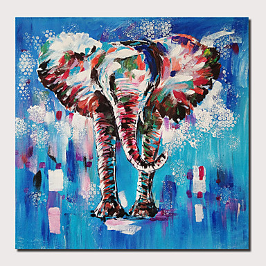 cheap Wall Art-Oil Painting Hand Painted - Abstract Animals Comtemporary Modern Stretched Canvas