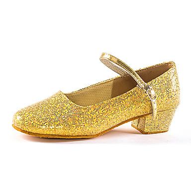 preiswerte Tanzschuhe-Mädchen Tanzschuhe Kunststoff Schuhe für modern Dance Glitzer Absätze Kubanischer Absatz Maßfertigung Gold / Silber