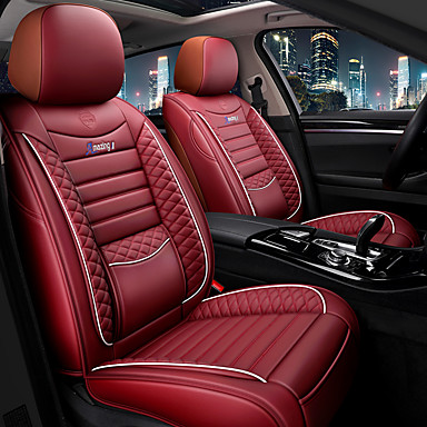 cheap Automotive-Universal Car PU Leather Seat Mats Football Sport Style Front/Rear Seat Cover Protector Cover Breathable Cushion Pad Car Seat Covers for Four Season