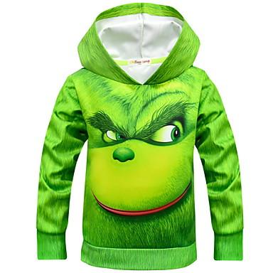 billige baby & barn-Barn Gutt Gatemote Trykt mønster Langermet Bomull Hettegenser og sweatshirt Grønn