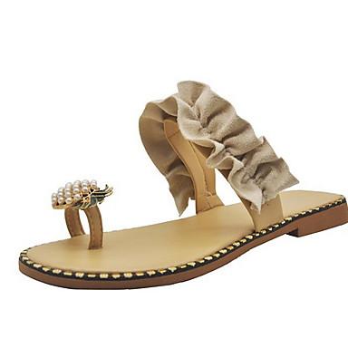 voordelige Damespantoffels & slippers-Dames Slippers & Flip-Flops Platte hak Ronde Teen PU Zomer Geel / Beige