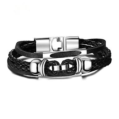 voordelige Herensieraden-Heren Lederen armbanden Gevlochten Bloem Vintage PU Armband sieraden Zwart Voor Dagelijks