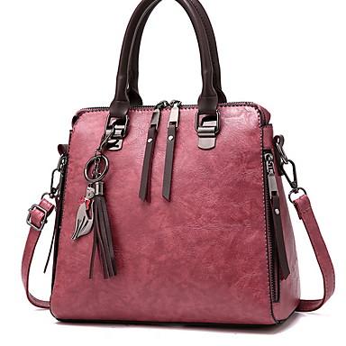 preiswerte Taschen-Damen Reißverschluss PU Tasche mit oberem Griff Volltonfarbe Schwarz / Wein / Rosa