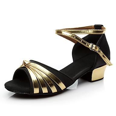 ราคาถูก รองเท้าเต้นราคาถูก-เด็กผู้หญิง รองเท้าเต้นรำ ซาติน / หนังเทียม ลาติน / Salsa หัวเข็มขัด / แสงระยิบระยับ ส้น หนา Heel สีดำ / ฟ้า