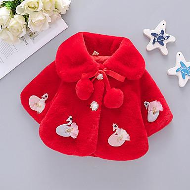 preiswerte Oberbekleidung für Babys-Baby Mädchen Grundlegend Solide / Weihnachten Pelzkragen Kurz Anzug & Blazer Weiß