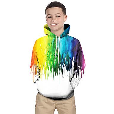 povoljno Odjeća za dječake-Djeca Dijete koje je tek prohodalo Dječaci Aktivan Osnovni Crno-bijela Geometrijski oblici Color block Duga Print Dugih rukava Trenirka s kapuljačom Duga