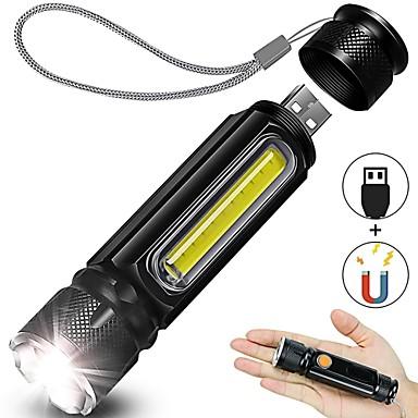 Lanterna recarregável usb lanterna de mão led com ímã de luz lateral zoomable 4 modos ip65 à prova d'água para camping caminhadas emergência e uso diário