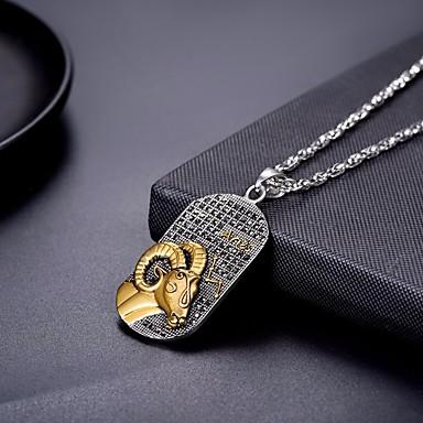 levne Pánské šperky-Pánské Dámské Náhrdelníky s přívěšky Náhrdelník Charm náhrdelník Zvěrokruh Gemini Aries Módní Titanová ocel Stříbrná 60 cm Náhrdelníky Šperky 1ks Pro Promoce Dar Denní