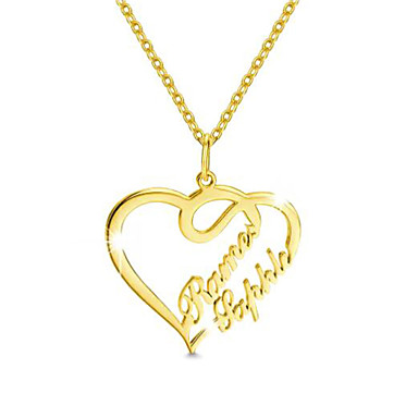 cheap Engraved Necklaces-Personalized Customized Necklace Name Necklace Heart Gift Daily Holiday Heart Shape 1pcs Gold / Laser Engraving
