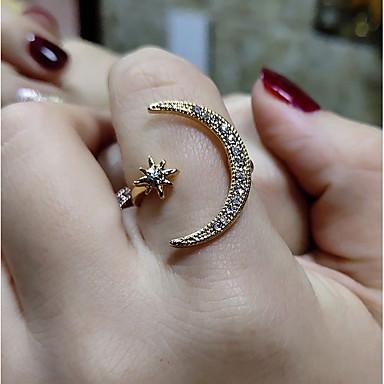 billige Motering-Dame Ring 1pc Gull Sølv Rose Gull Kobber Sirkelformet Vintage Grunnleggende Mote Bryllup Smykker MOON Stjerne Smuk