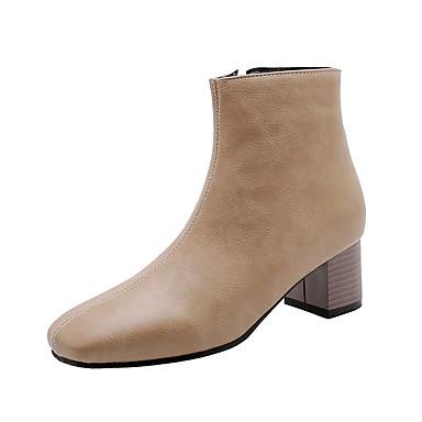 voordelige Dameslaarzen-Dames Laarzen Blokhak Vierkante Teen PU Korte laarsjes / Enkellaarsjes Vintage Herfst winter Zwart / Bruin / Amandel