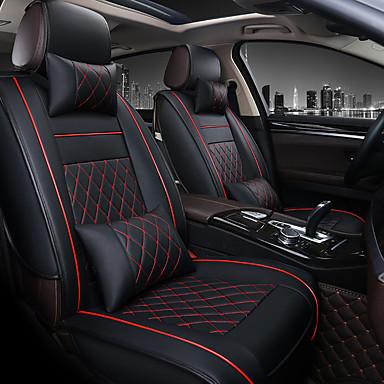 baratos Capas para Assento Automotivo-1 pcs universal todo o couro do carro almofada de apoio de assento de carro cobre acessórios de almofada (sem apoio de cabeça e travesseiro lombar) -um assento