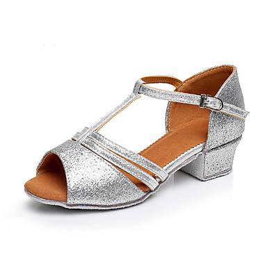 preiswerte Tanzschuhe für Kinder-Mädchen Tanzschuhe Kunststoff Schuhe für den lateinamerikanischen Tanz Pailetten Absätze Starke Ferse Maßfertigung Gold / Silber