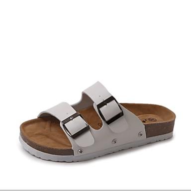 voordelige Damespantoffels & slippers-Dames Slippers & Flip-Flops Platte hak Open teen PU Zomer Zwart / Wit
