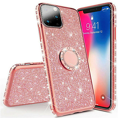 cheap iPhone Cases-Rhinestone Glitter Finger Magnetic Ring Phone Case for iphone 11 Pro Max / iphone 11 Pro / iphone 11 / XS Max XR XS X 8 Plus 8 7 Plus 7 6 Plus 6 Soft Silicone Plating TPU Diamond Sexy Girl Cover