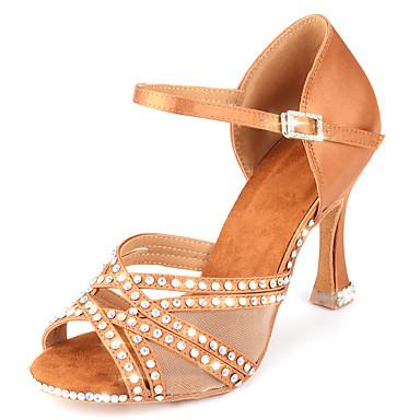 preiswerte Tanzschuhe-Damen Tanzschuhe Satin Schuhe für den lateinamerikanischen Tanz Glitter / Kristall Verzierung / Glitzer Absätze Keilabsatz Maßfertigung Knackmandel / Praxis