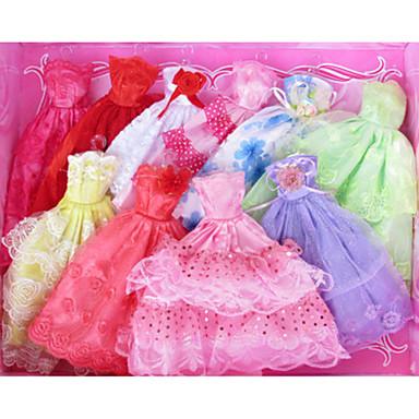 preiswerte Zubehör für Puppen-Puppenkleid Kleider Für Barbie Hohl Blumen Pflanzen Spitze Weiß / Rot Satin / Tüll Polyester / Baumwolle Kleid Für Mädchen Puppe Spielzeug