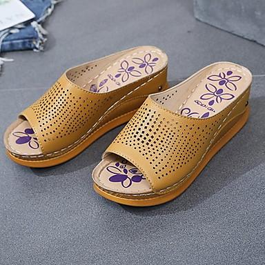 voordelige Damespantoffels & slippers-Dames Slippers & Flip-Flops Platte hak Peep Toe PU Zomer Zwart / Bruin / Wit
