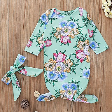 cheap Baby Girls' One-Piece-Baby Girls' Basic Floral Long Sleeve Romper Green