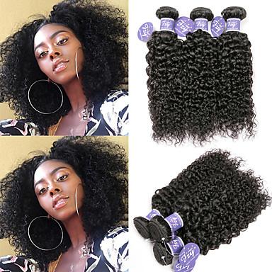 povoljno Ekstenzije od ljudske kose-6 paketića Brazilska kosa Kinky Curly Remy kosa 100% Remy kose tkanja Bundle Headpiece Ljudske kose plete Bundle kose 8-28 inch Natural Prirodna boja Isprepliće ljudske kose novorođenče Dar Najbolja