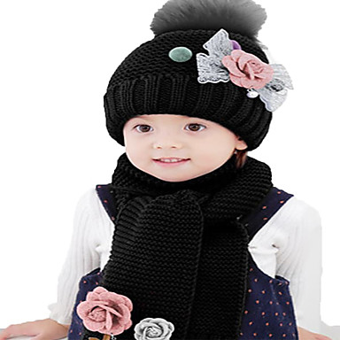 cheap Kids' Hats & Caps-Kids / Toddler Boys' / Girls' Active / Basic / Sweet Solid Colored / Floral Flower / Stylish / Knitting Cotton / Roman Knit Hats & Caps Black / White / Dusty Rose One-Size