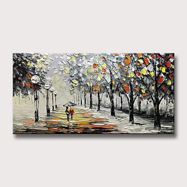 cheap Rolled Canvas Paintings-Oil Painting Hand Painted - Abstract Landscape Modern Rolled Canvas