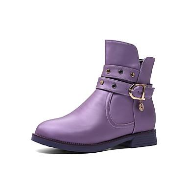 preiswerte Schuhe für Kinder-Mädchen Schuhe für das Blumenmädchen PU Stiefel Große Kinder (ab 7 Jahren) Niete Purpur / Rot / Rosa Winter / Mittelhohe Stiefel / Party & Festivität / Gummi