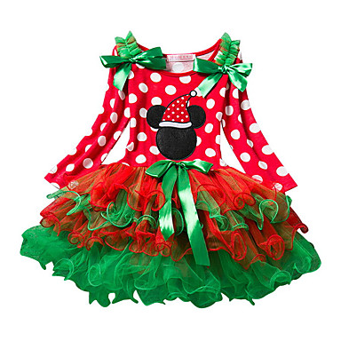 povoljno Odjeća za bebe-Dijete Djevojčice Osnovni Na točkice / Božić Dugih rukava Pamuk Haljina Red / Dijete koje je tek prohodalo