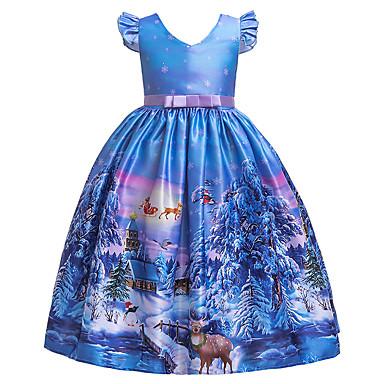 cheap Baby & Kids-Kids Girls' Active Sweet Snowflake Christmas Print Short Sleeve Midi Dress Blue