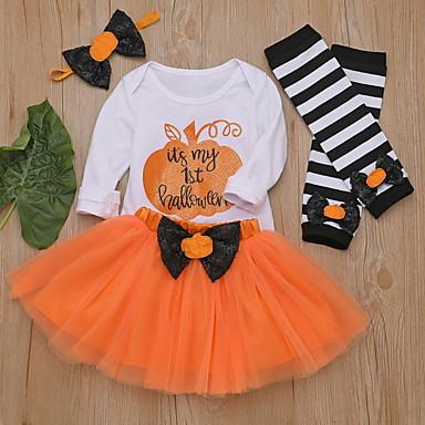 preiswerte Babykleidung-Baby Mädchen Street Schick Druck / Halloween Langarm Standard Baumwolle Kleidungs Set Schwarz