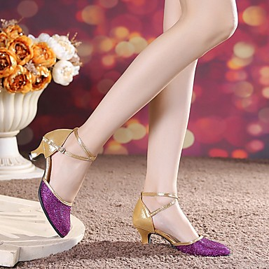 billige Utvalgte tilbud-Dame Dansesko Saueskinn Moderne sko Høye hæler Kubansk hæl Kan spesialtilpasses Svart / Lilla / Gull