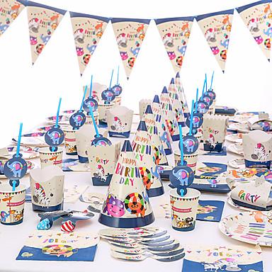 levne Party doplňky-baby sprcha narozeninový večírek zoo téma party dekorace dodávky jednorožec papír pohár talíř nádobí nádobí